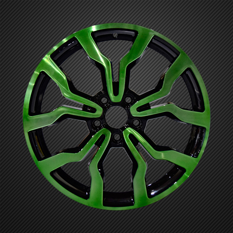 green glass effect alloy wheel