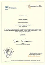 body refinishing certificate certificate