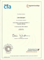 intermediate level apprenticeship customer service certificate