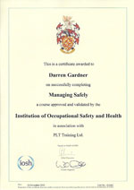 managing safely certificate