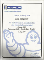 telephone skills for tyre retailer certificate