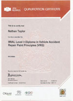 vehicle accident repair paint principles certificate